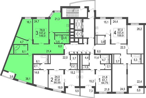 3-комн квартира, 149 м2, 12 этаж - фото 1