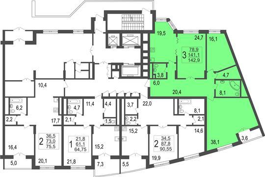3-комн квартира, 142.9 м<sup>2</sup>, 1 этаж_1