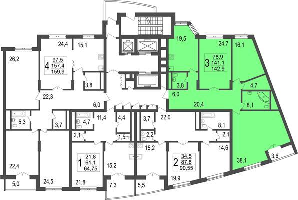 3-комн квартира, 142.9 м2, 10 этаж - фото 1