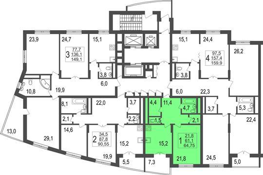 1-комн квартира, 64.75 м2, 3 этаж
