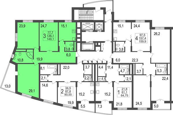 3-комн квартира, 149.1 м2, 4 этаж - фото 1
