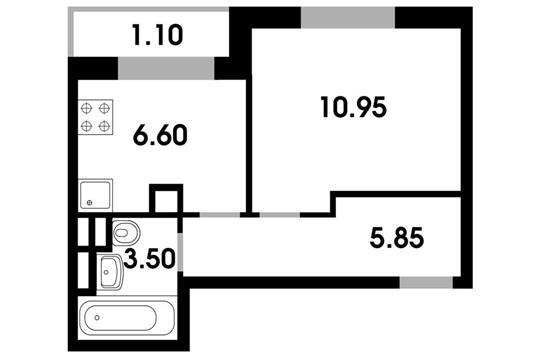 1-комн квартира, 28 м2, 2 этаж