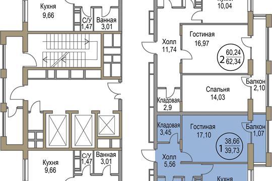 1-комн квартира, 39.73 м<sup>2</sup>, 4 этаж_1