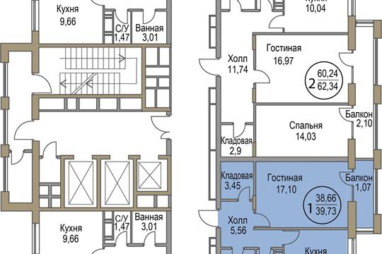 1-комн квартира, 39.73 м2, 4 этаж