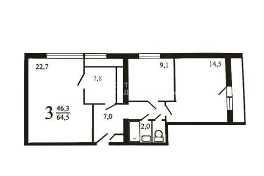 3-комн квартира, 64 м2, 12 этаж