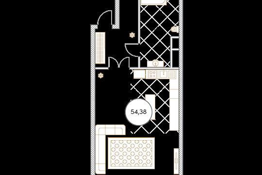 1-комн квартира, 54.4 м2, 4 этаж