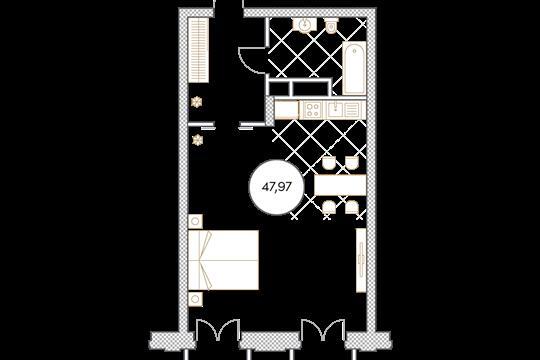 1-комн квартира, 48 м2, 5 этаж