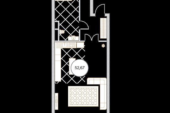 1-комн квартира, 52.7 м2, 6 этаж