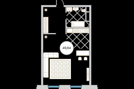1-комн квартира, 49.8 м2, 2 этаж
