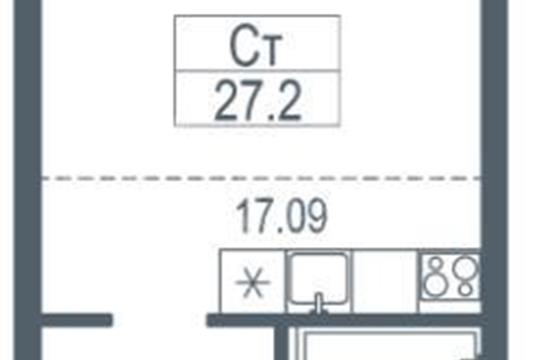 1-комн квартира, 28 м2, 6 этаж