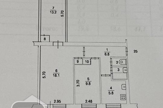 3-комн квартира, 59.6 м2, 2 этаж