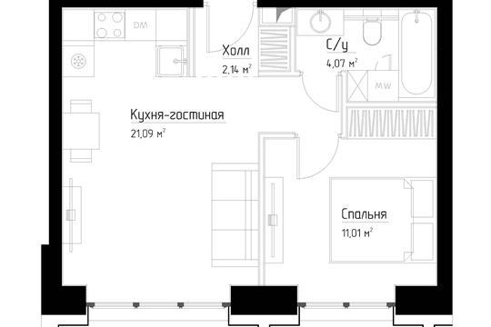 1-комн квартира, 38.3 м<sup>2</sup>, 4 этаж_1