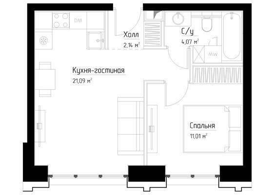 1-комн квартира, 38.3 м2, 4 этаж - фото 1
