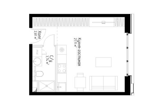 Студия, 27.6 м2, 2 этаж