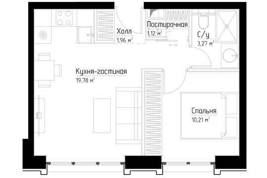 1-комн квартира, 36.4 м<sup>2</sup>, 13 этаж_1