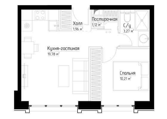 1-комн квартира, 36.4 м2, 13 этаж - фото 1