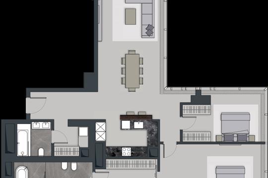 3-комн квартира, 134.5 м2, 74 этаж