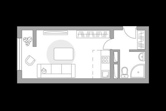 Студия, 24.69 м2, 1 этаж