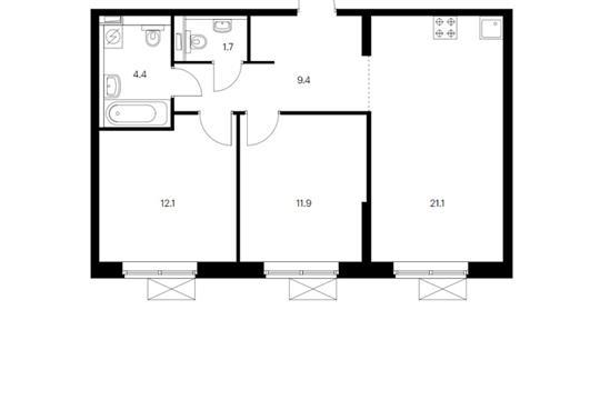 2-комн квартира, 60.7 м<sup>2</sup>, 4 этаж_1