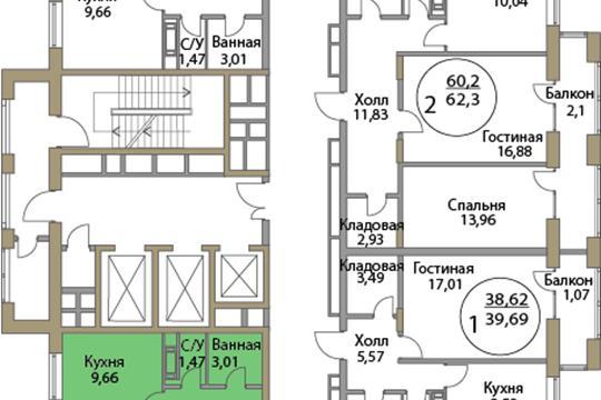 2-комн квартира, 64.19 м2, 3 этаж