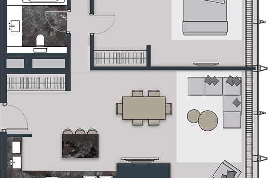 2-комн квартира, 84.4 м2, 44 этаж