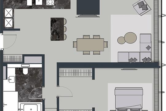 2-комн квартира, 84.8 м2, 50 этаж