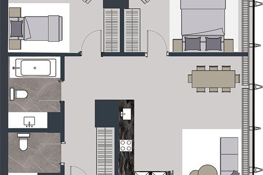 3-комн квартира, 85.2 м2, 55 этаж