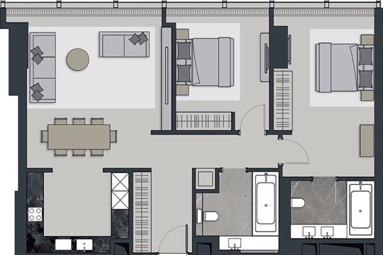 3-комн квартира, 101.2 м2, 60 этаж