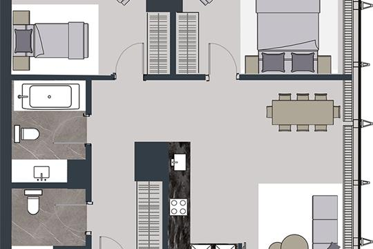 2-комн квартира, 85.5 м2, 62 этаж