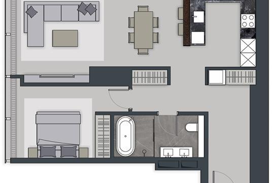 2-комн квартира, 76.7 м2, 45 этаж