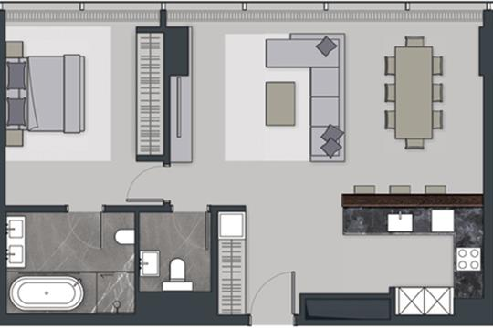 2-комн квартира, 78.2 м2, 74 этаж