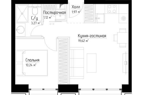 1-комн квартира, 36.2 м2, 9 этаж