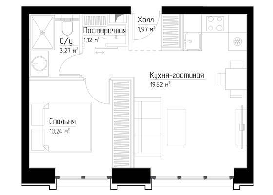 1-комн квартира, 36.2 м2, 9 этаж - фото 1