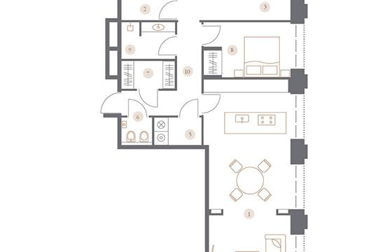 3-комн квартира, 101.21 м2, 2 этаж