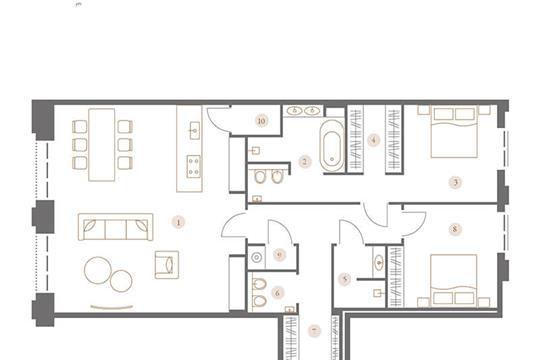 3-комн квартира, 122.67 м2, 3 этаж