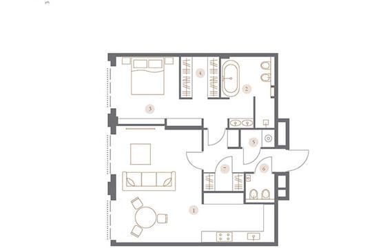 2-комн квартира, 77.04 м2, 4 этаж