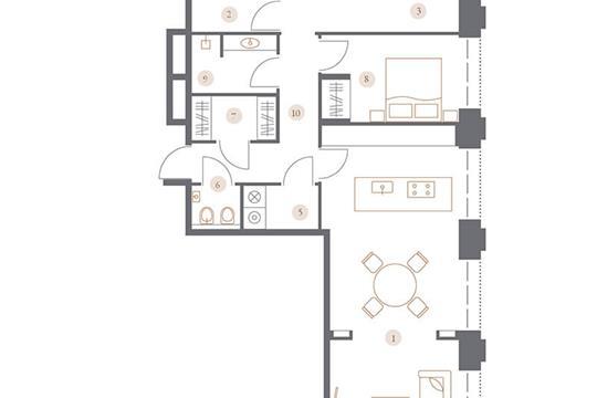 3-комн квартира, 101.37 м2, 6 этаж