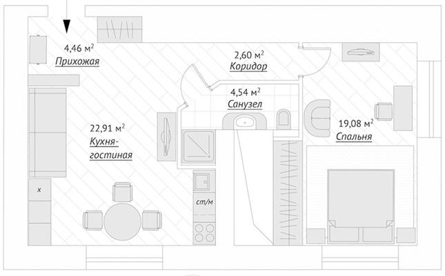 2-комн квартира, 58.6 м2, 1 этаж - фото 1
