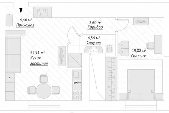 2-комн квартира, 59.2 м2, 1 этаж