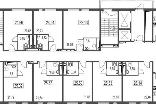 Студия, 23.89 м2, 2 этаж