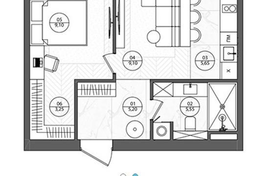 2-комн квартира, 39.2 м2, 6 этаж