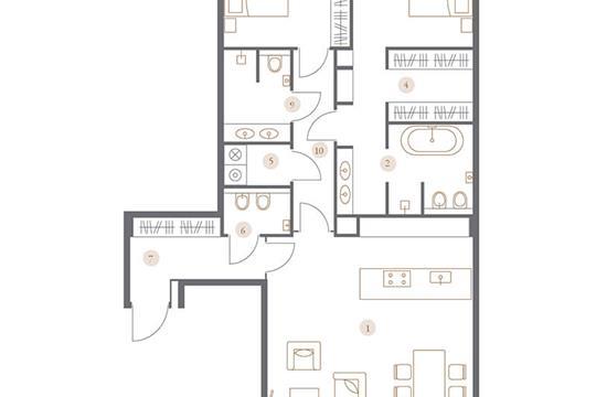 3-комн квартира, 119.47 м2, 3 этаж
