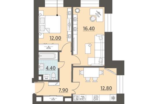 2-комн квартира, 53.5 м2, 4 этаж