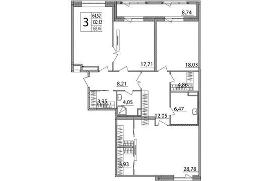 3-комн квартира, 138.5 м2, 2 этаж