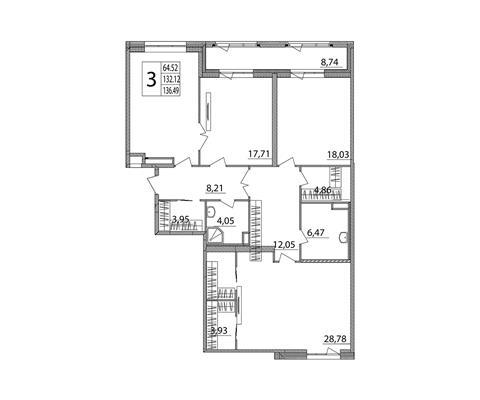 3-комн квартира, 138.5 м2, 2 этаж - фото 1