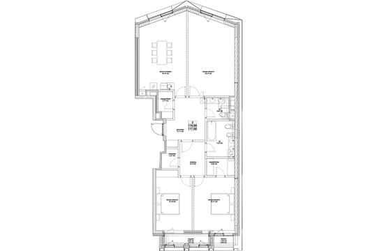 3-комн квартира, 120.4 м2, 2 этаж