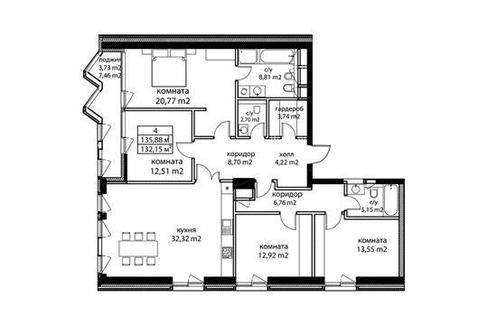 4-комн квартира, 137.6 м2, 2 этаж