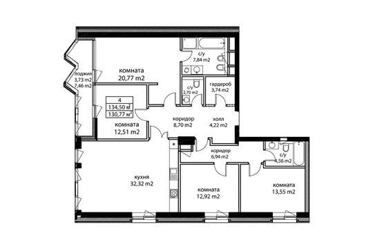 4-комн квартира, 136.1 м2, 4 этаж