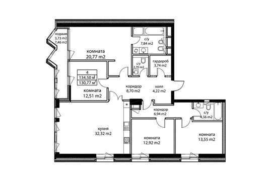 4-комн квартира, 136.1 м2, 6 этаж