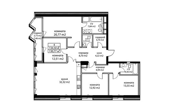 4-комн квартира, 136.1 м2, 10 этаж